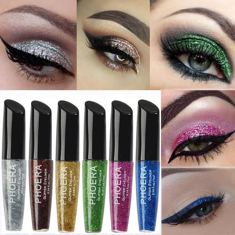 Farben Highlighter Flüssige Eyeliner Make-Up set Professionelle Shiny Auge Liner Metallic Bunte Glitter Wasserdichte Kosmetische TSLM1