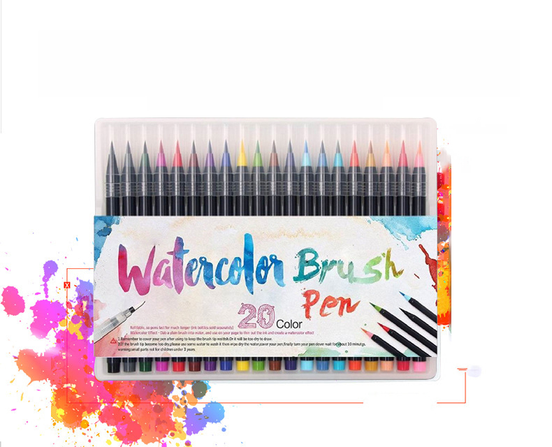 20 Colors WATERCOLOR Brush Markers Pen Brush Set w// FREE A5 Pad Dream In Color