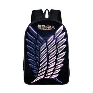 Anime Attack on Titan Backpack Young Men Women Ddaily Backpack Mikasa Ackerman Eren Jaeger School Bags For Teen School Backpacks