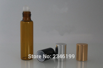 5ML 5G Dark Brown Roll on Bottle With Gold Silver Black Cap Glass Bead Metal Steel Bead, Essential Oil Bottle, 100 Pieces/lot
