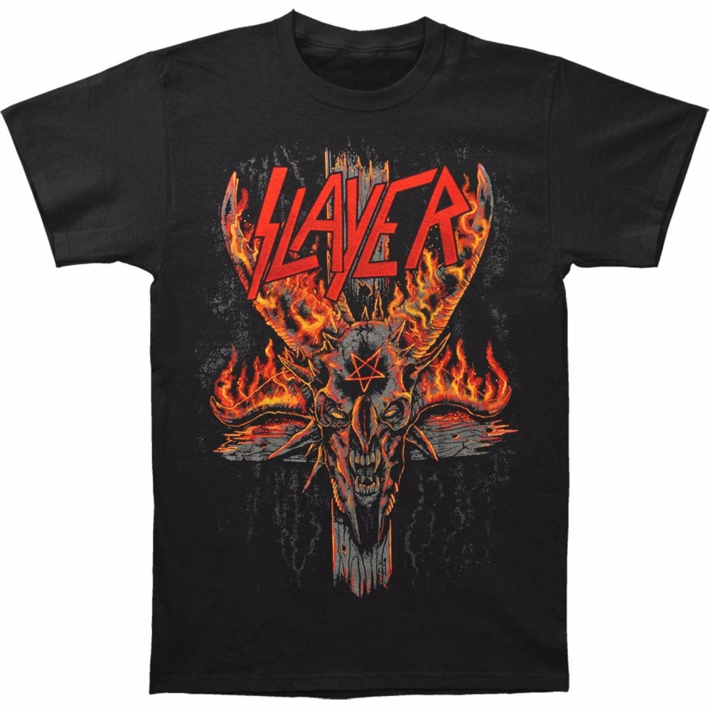 Fashion T Shirt Short Crew Neck Slayer Mens Halloween Burning Pentagram Slim Fit T-Shirt Black Best Friend Shirts For Men