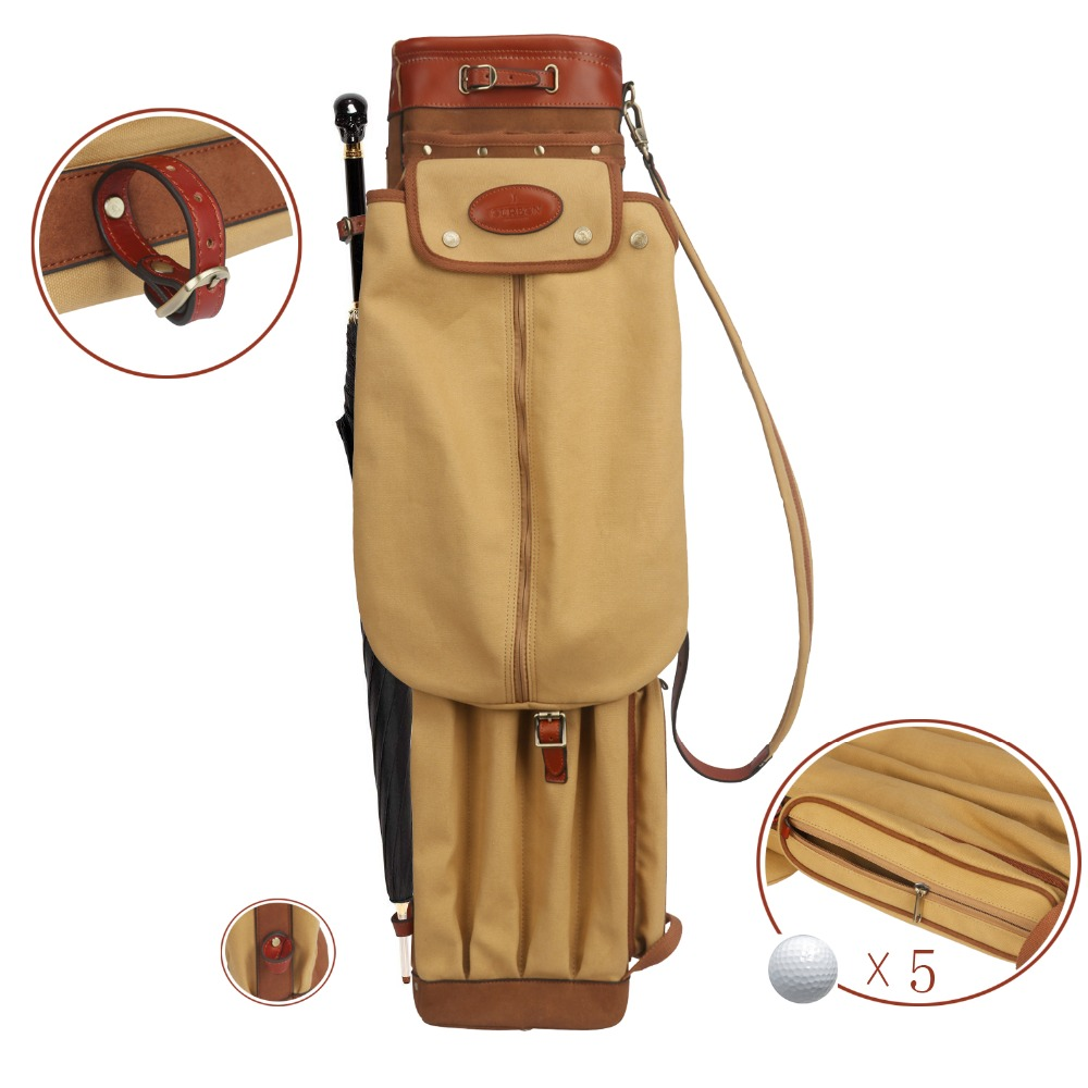 Image 5 - Tourbon Vintage Golf Club Bag Carrier Pencil Style Canvas & Leather Golf Gun Bags W/Pockets Clubs Interlayer Cover 90CMGolf Bags   -
