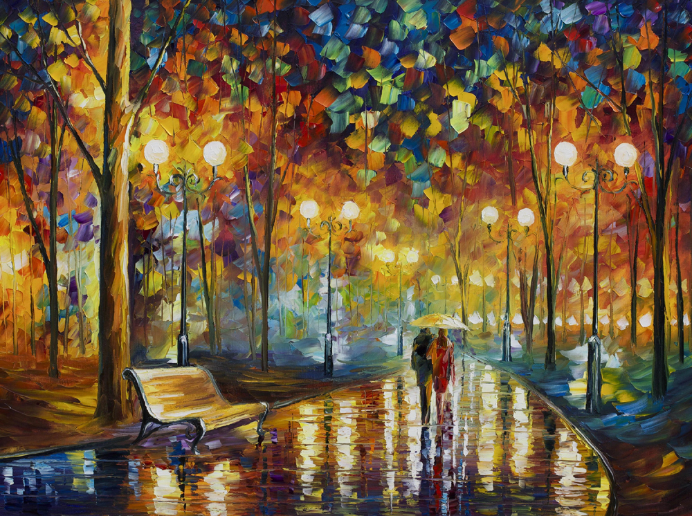 Large Canvas Print Lover Walking in Rainy Park Landscape Oil Painting - Home Decor - Photo 3