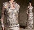 2016 Mulheres Formais Vestidos de Renda Mãe da Noiva Terno de Cuecas vestido com Jaqueta Applique Beads Champagne Vestido Mae da Noiva M385