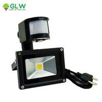 Ac85-265v led flood light outdoor lamp 10 wát pir motion cảm biến không thấm nước ip65 cảm ứng ánh sáng với us/eu/au cắm spotlight đường ph