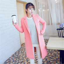 New Winter Coat Women Sweet Woolen Coats Women's Clothing Slim Woolen Coats Jackets Female Long Parkas Feminina Overcoat C1263