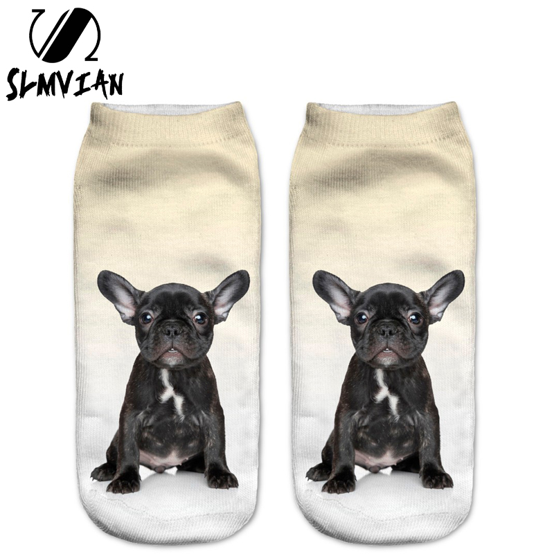 SLMVIAN New Black French BullDog Puppy 3D Print Animal Women Socks Casual Cartoon Socks Unisex Low Cut Ankle Socks