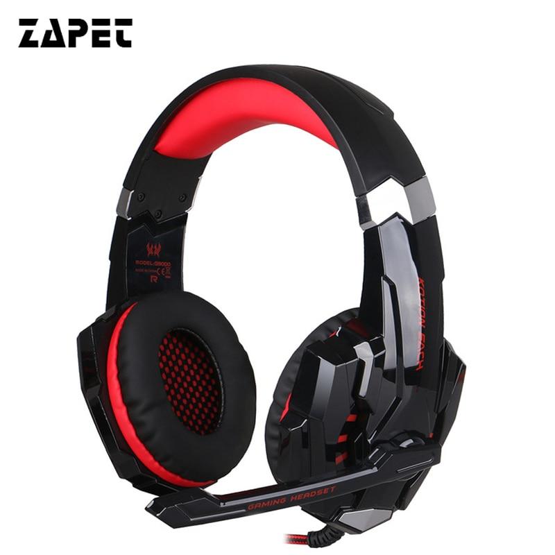 ZAPET G9000 Versione del Gioco Surround Sound Gaming Cuffia USB 3.5mm AUX PC Auricolare Fascia con Microfono HA CONDOTTO LA Luce