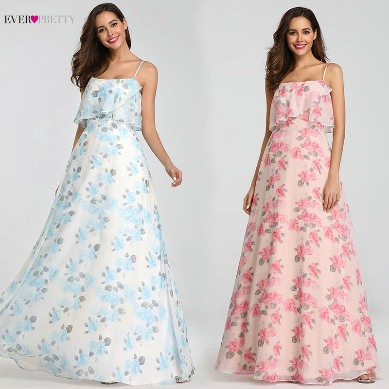 Bridesmaid     Dresses   Long Ever Pretty EP07236 Cheap Chiffon Sleeveless Floral Beach   Dress   for Wedding Guest Party Bridemaid robes