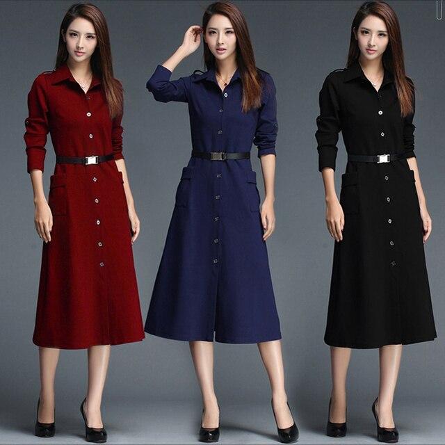 2018 Springmaxi Dress Women Brand Office Ol Dresses Full Sleeve Elegant Blue Color Clothes
