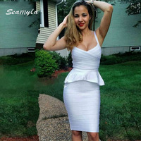 2015 Ladies Noble Party Prom Solid Strap O Neck HL Bandage Dress Sexy Night Club Ruffles