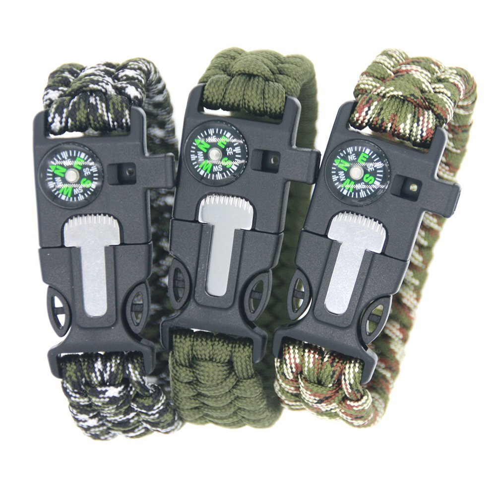 Paracord Rope 550 Camping Survival Kits Parachute Wristband Rescue Bracelet Whistle Compass Outdoor camping survival tools