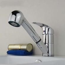 Одинарная ручка верхний модный кухня Faucets кран вращение тянуть убирающийся умывальник вода затычка кухня краны миксер Faucets