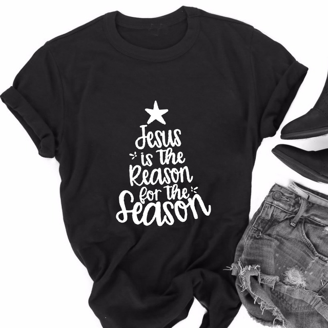 jesus is the reason for the season christmas quote t shirt short sleeve christian grey t