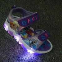 סנדלים חמודים קריקטורה עם אור LED 2018 ילדים חדשים בנות נעלי ילדי קיץ חוף נעלי ספורט pu גודל האיחוד האירופי 20-31