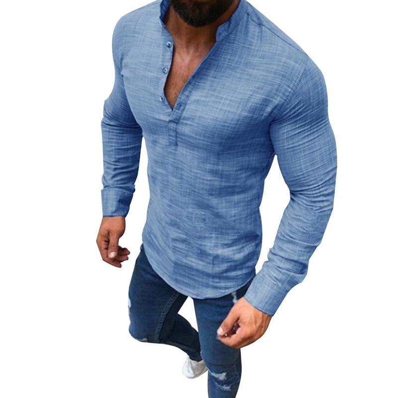 HTB1ZI09XsrrK1Rjy1zeq6xalFXaP - LASPERAL Men Plus Size Linen T-Shirts Fashion Long Sleeve Tee Top Male Streetwear Stand Collar Button Tee Shirts Plus Size 3XL
