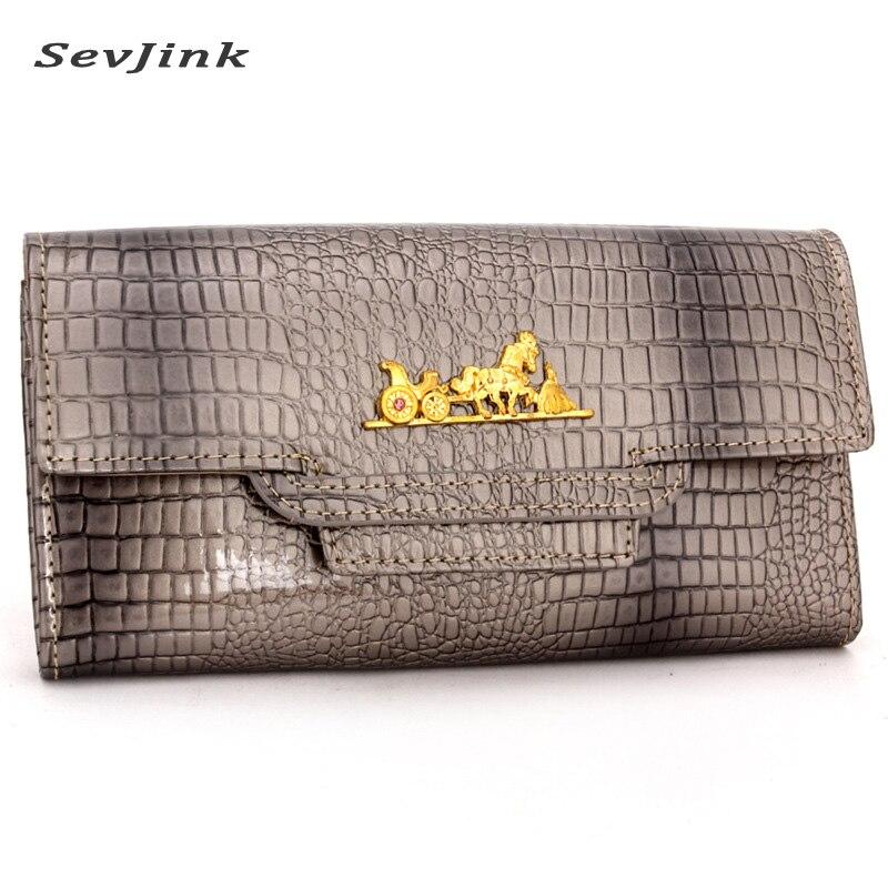 Fashion wallets crocodile pattern women wallets genuine leather European design long wallet brand quality carteira feminina