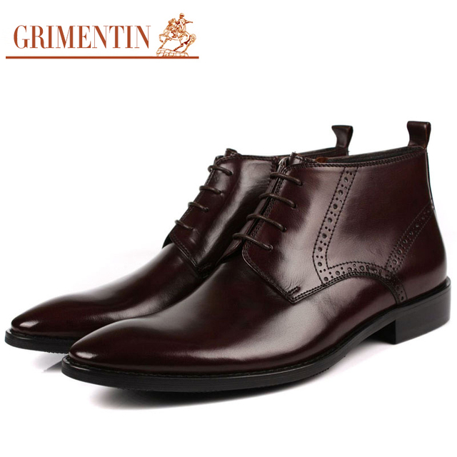GRIMENTIN Men Boots Dress Ankle Genuine Leather Luxury Fashion Black Brown Autumn Winter Shoes For Male Size38-44 3ZB552