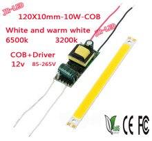 1PCS COB and Driver 4W 10W 120X10mm12V COB led chip board panel for led bulb spotlight lamp led lamp AC85-265V input LED  driver