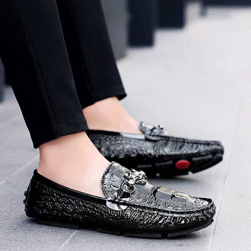 ... Men Fur Loafers Leather Moccasin Crocodile Style Footwear Fashion Slip  On Flat Driving Casual Shoes Plush Classical Male 38-47 819a11db61ce