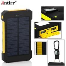 Солнечная батарея водонепроницаемый 8000 mAh Солнечное зарядное устройство 2 usb порта Внешнее зарядное устройство power Bank для телефона с светодиодный подсветкой