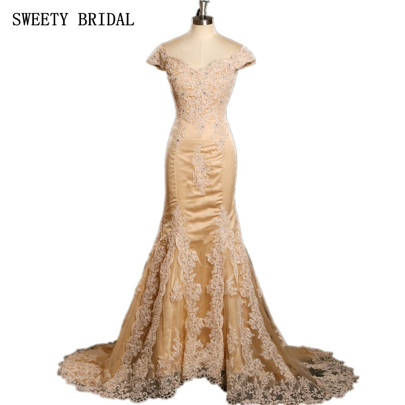 Vintage Long Mermaid Champagne Gold Lace Appliques Beads Short Sleeves Formal Evening Gown China Cheap Evening Dresses
