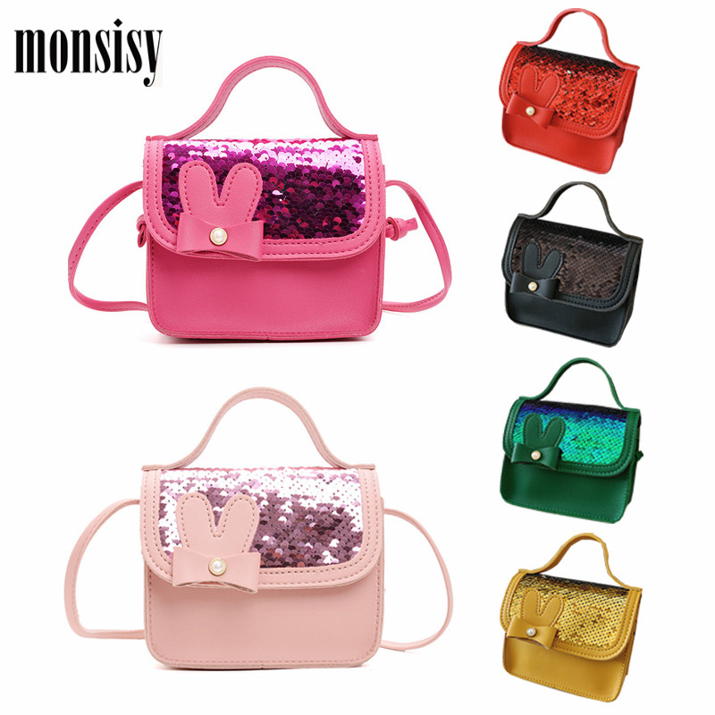 Monsisy Children Bag Girl Handbag Kid Purse Baby Wallet Small Coin Pouch Change Purse Cute Bowknot Toddler Shiny Mini Bag Bolso
