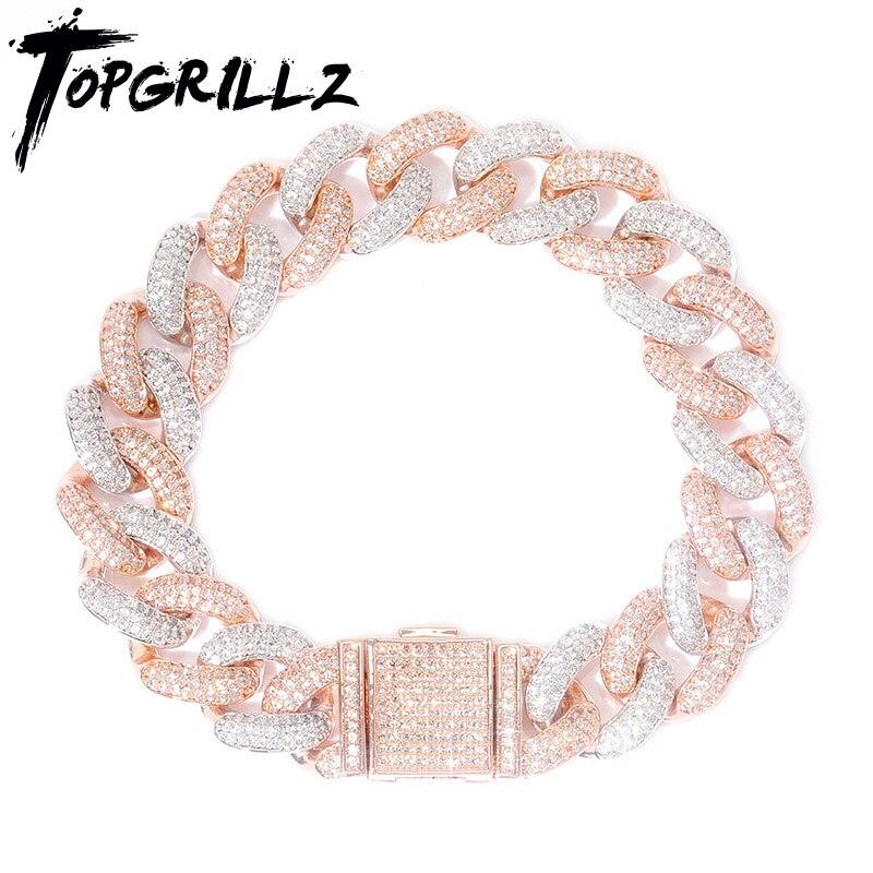 TOPGRILLZ nouvelle serrure fermoir 14mm Hip Hop glacé Bling CZ hommes Bracelet 7 8 9 pouces Miami lien cubain Bracelets Hiphop bijoux