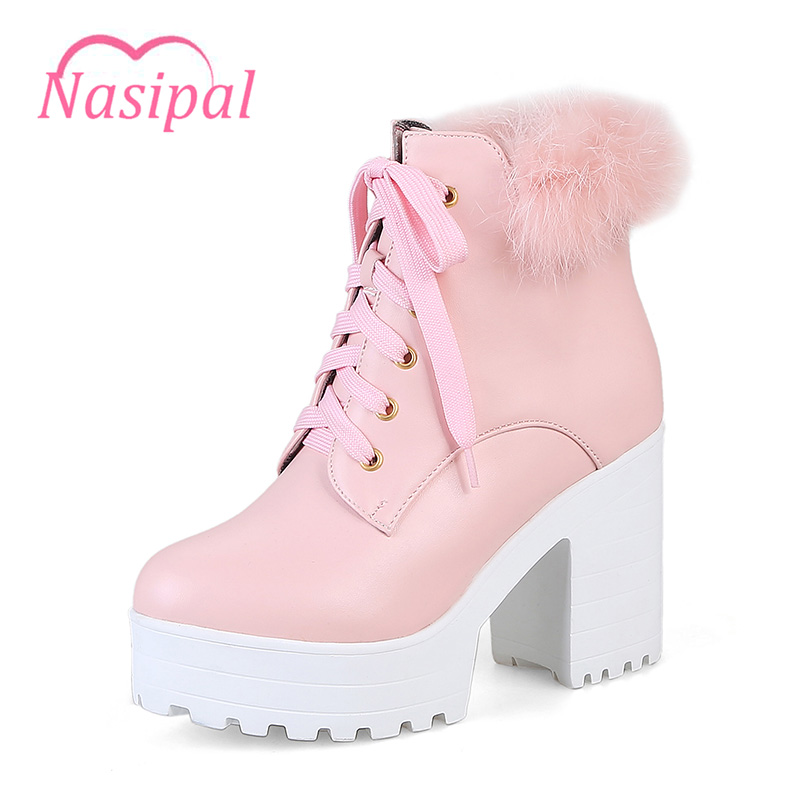 Nasipal 2017 Nova Moda das Mulheres Sensuais Ankle Boots Lace Up sapatos de Salto alto Plataforma Do Punk Botas Sapatos Das Senhoras Das Mulheres Outono Inverno C153