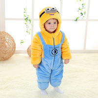 Flannel Winter Minion Puffer Baby Boys Girl Rompers Kids Costume New Born Thick Toddler Children Cotton Padded Christmas Clothes