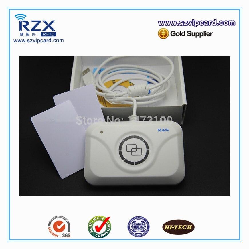 Livraison gratuite promo ISO14443A 13.56 Mhz smart rfid nfc lecteur de carte écrivain + 2 PCS 13.56 Mhz carte cartes de test