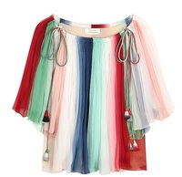 TBT001 Women Fringed Drawstring Tie A Shoulder Silk Blouse Moves Stars Same Style Rainbow Loose Tops