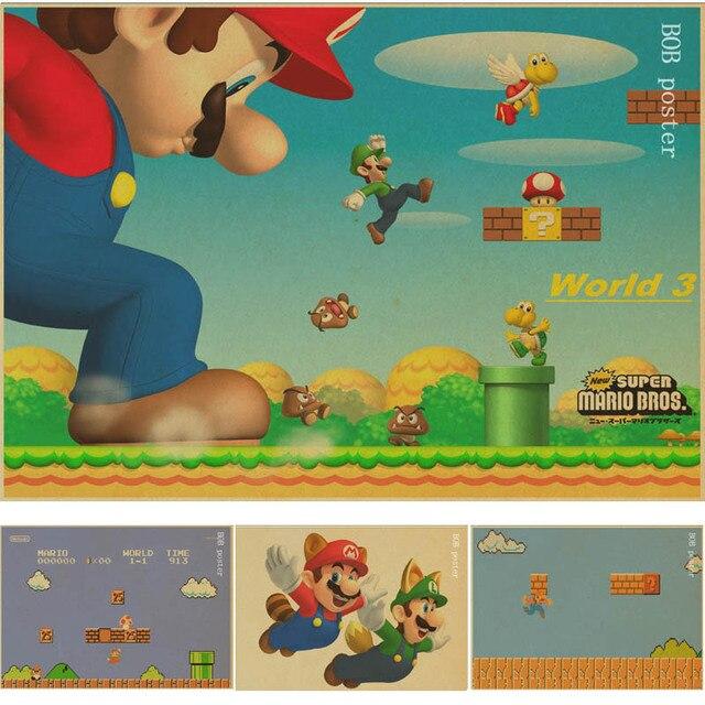 Vintage Classic Game Charakter Super Mario Poster Cafe Bar ...