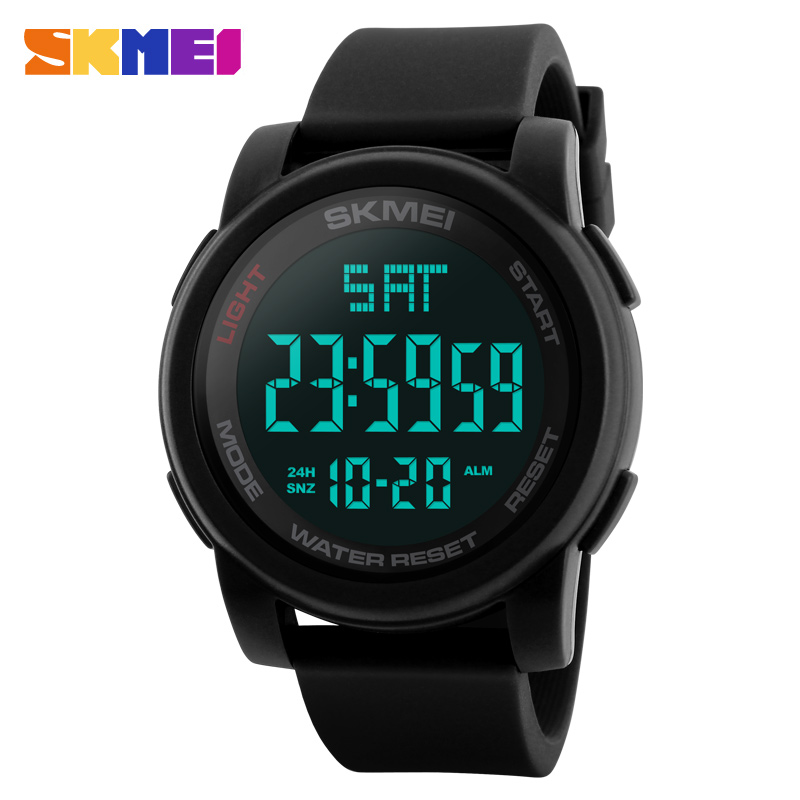 SKMEI Men Watch Sports Watches Double Time Countdown 50M Waterproof LED Digital Wristwatches Clocks Relogio Masculino Black 1257