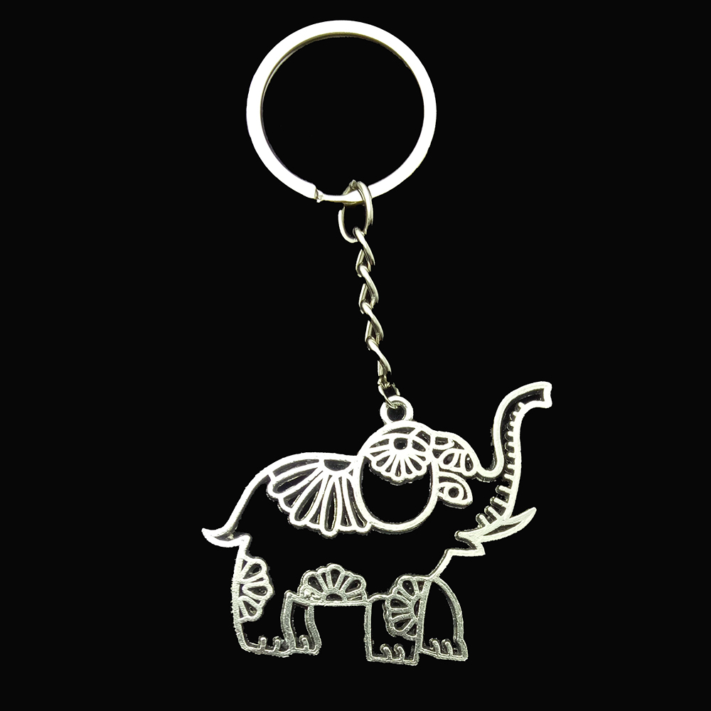 Metal Hollow Elephant Charm Key Chain Gifts Elephant Keychain  Holder Key Ring Jewelry Porte Clef Dropship Suppliers
