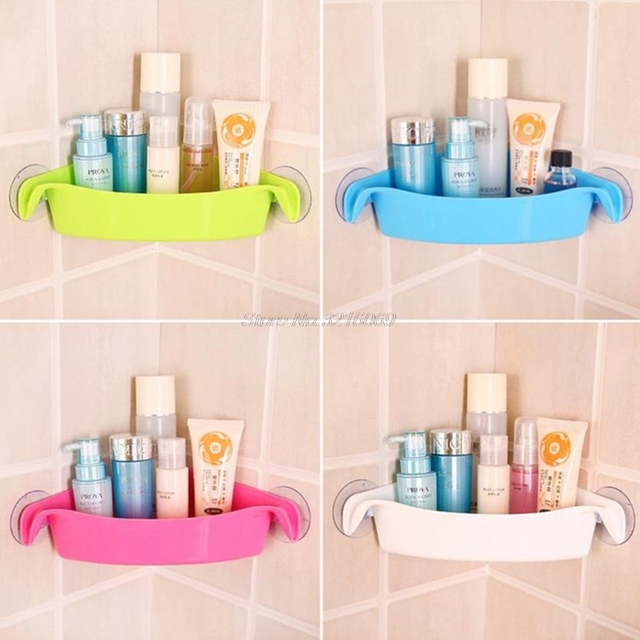Bathroom Corner Storage Rack Wall Shelf With Suction Cup Home Bathroom  Shelves