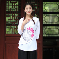 Brand New Design White Chinese Style Blouse Female Cotton Linen Shirt Print Flower Spring Autumn Tops
