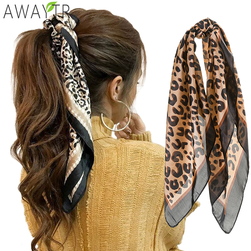 AWAYT Women Hair Band Leopard Print Fashion Lady 100% Silk Riband Hendbands Bags Handbag Scarf Lengthen Ribbon Hair Accessories