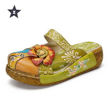 7ca85cd33f48e2 Z summer sandals genuine leather shoes women thick heel platform sandals  for women slippers ethnic flat sandals flip flop
