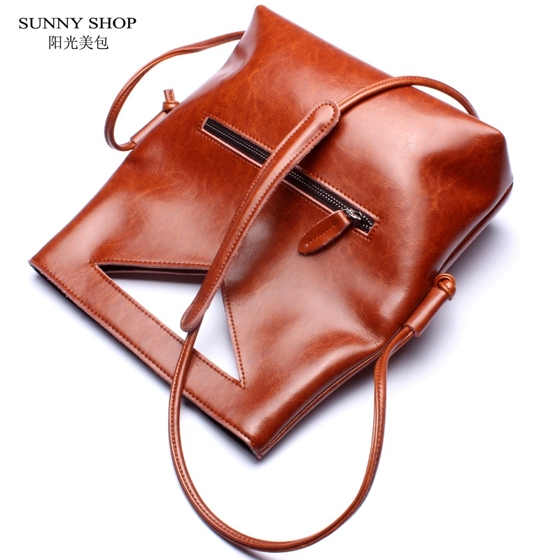 SUNNY SHOP 2 Style Luxury Handbags Women Bags Designer High Quality Genuine Leather Bag Brand Designer Nature Leather  Women Bag