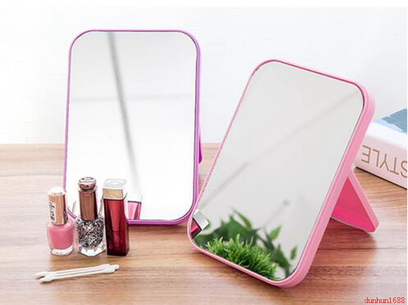 Simple Rectangular Desktop Mirror HD Makeup Mirror Desktop Dresser Mirror Folding Portable Makeup Mirror