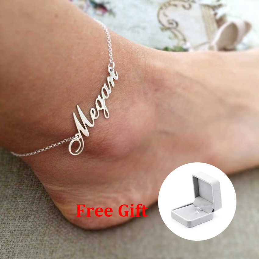 Personalized Name Custom Bracelets Anklets For Women Men Rose Gold Silver Stainless Steel Chain Anklet Bracelet Fashion Jewelry