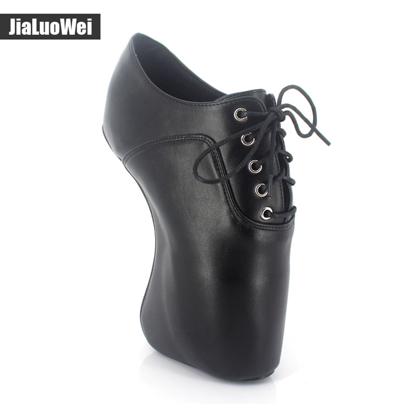 jialuowei Brand Extreme high heel 18cm/7 sexy fetish Hoof heel wedges boots patent leather Lace-Up BALLET Short ankle Boots jialuowei brand 18cm extreme high heel fetish sexy wedges lace up buckle heelless ballet boots unisex lockable knee high boots