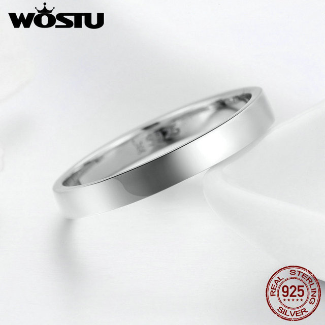 WOSTU Solid Pure 925 Sterling Silver Simple Finger Ring for Women High Polished Classic Band Rings Wedding Jewelry Gift CQR343