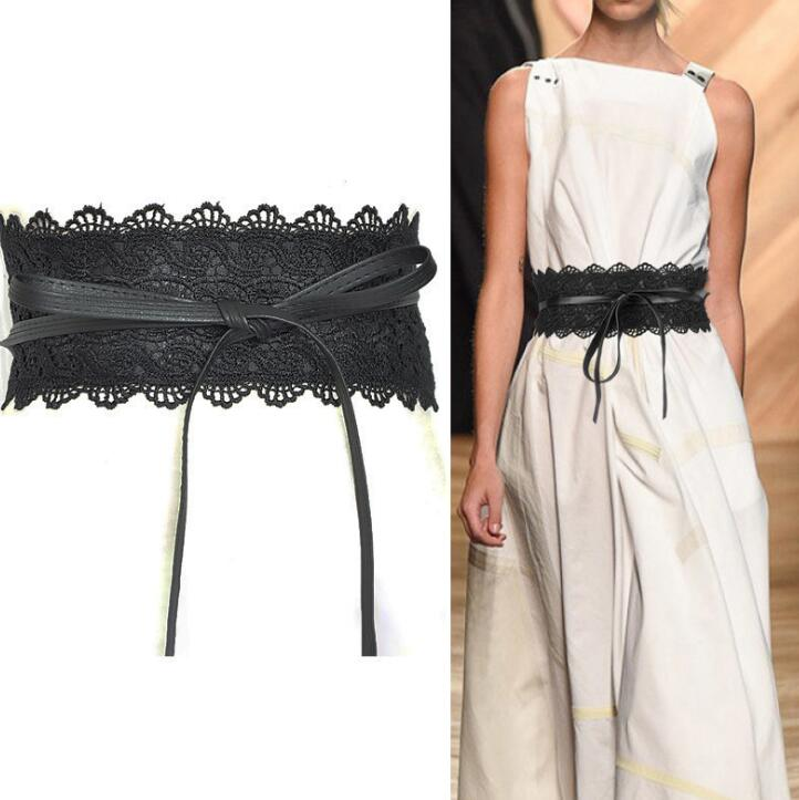Women's Runway Fashion Lace Patchwork Pu Leather Cummerbunds Female Dress Corsets Waistband Belts Decoration Wide Belt R1376