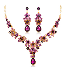 Ladies Creative Temperament Five-Pointed Star Multicolor Earrings Necklace Bridal Jewelry Set Crystal