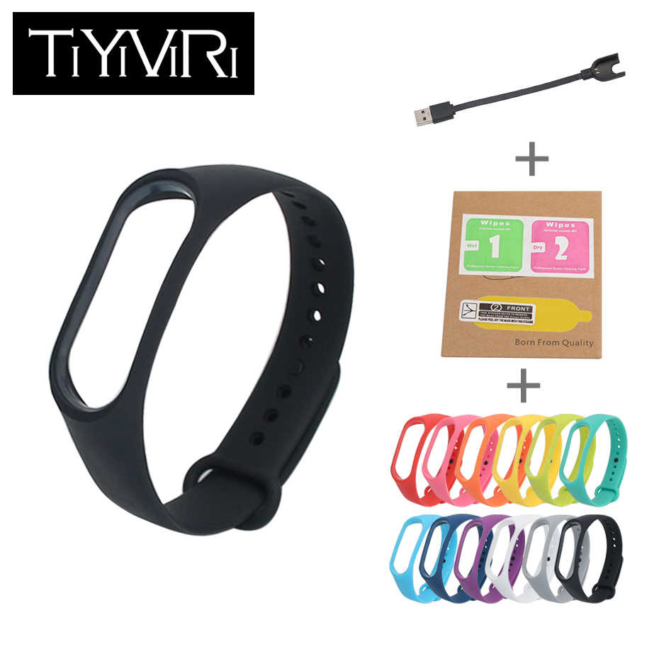 Strap For Xiaomi Mi Band 3 Sport Strap Watch Charger Cable+Screen Protector Film+Replace Silicone Strap For Xiaomi Mi Band 3