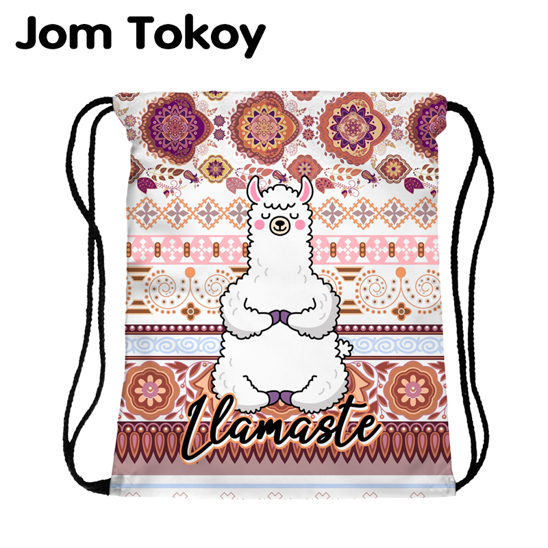 JomTokoy New Fashion Women Drawstring Backpack Alpaca Printing Travel Softback Women Mochila Drawstring Bags Skd27140