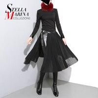 New 2016 European Women Autumn Winter Chiffon Skirt With Leather PU Waist Belt Black Solid Color