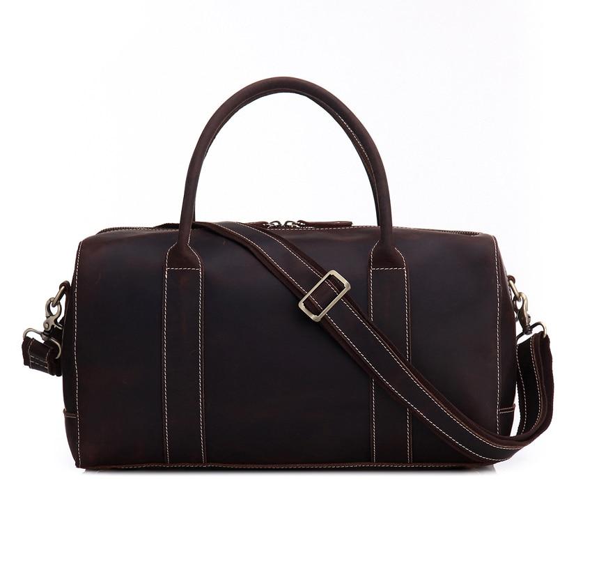 2017 Vintage Genuine Leather Travel Bag Men Hard Real